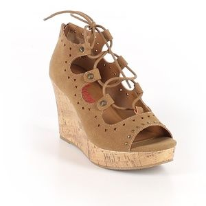 Jellypop April Lace-Up Platform Wedge Sandals